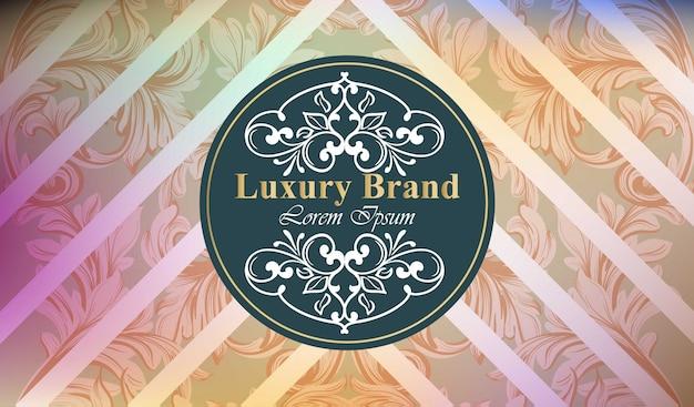 Luxuxmarkenkarte mit luxuriösem verzierung vektor. abstrakte hintergrunddesignillustration. platz für texte