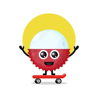Lychee skateboarding niedliches charaktermaskottchen
