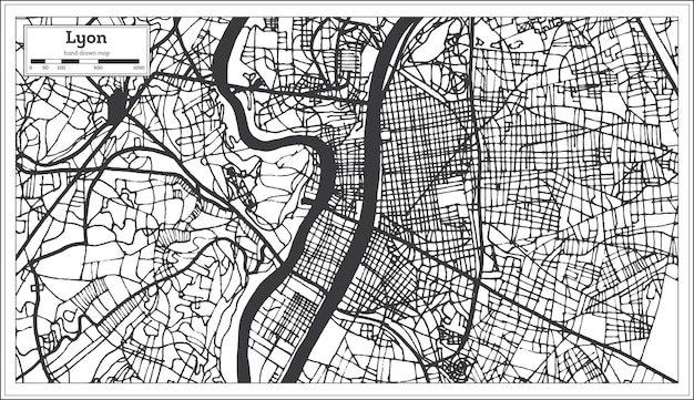 Lyon frankreich stadtplan im retro-stil. übersichtskarte. vektor-illustration.