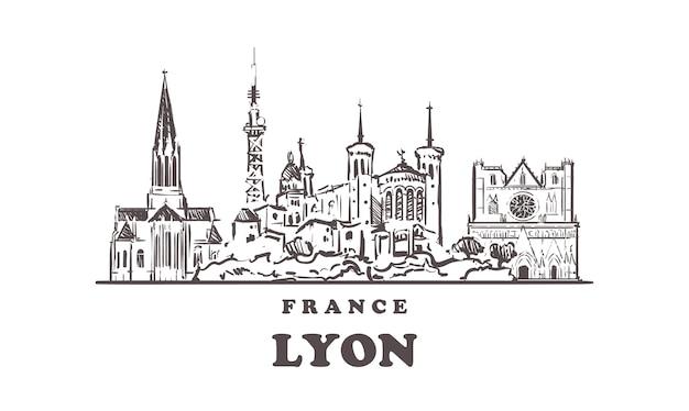 Lyon stadtbildskizze lokalisiert auf weiß