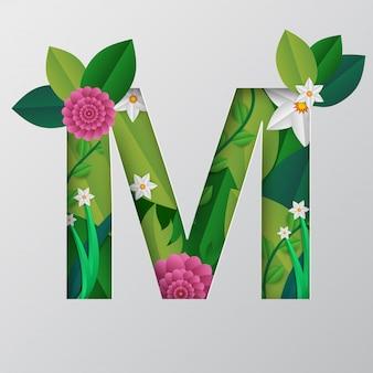 M-alphabet gemacht durch blumenmuster.