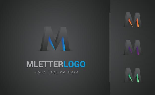 M buchstabe 3d logo design set