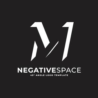 M buchstabe negativer raum geometrische alphabet zeichen logo vektor icon illustration