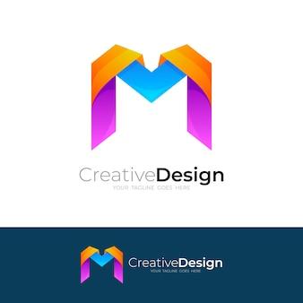 M logo design illustration, bunte logos, buchstabe m.