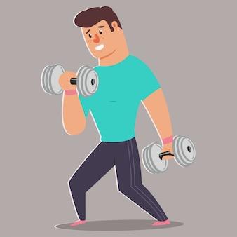 Mð ° n macht fitnessübungen mit hanteln. nette kerlzeichentrickfilm-figur lokalisiert. gesunder lebensstil und sportillustration.