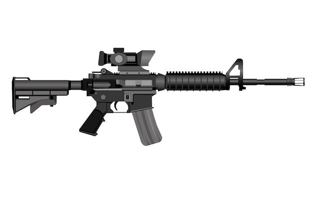 M16-gewehrvektor lokalisiert auf einem weißen hintergrund.