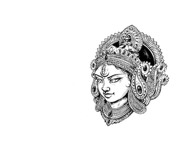Maa durga gesicht und kalash mit hindi text happy navratri hintergrund.