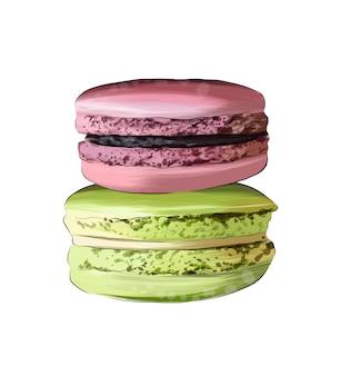 Macaron italienische makkaroni-torte französische konfekt aus bunten farben spritzer aquarell