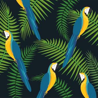 Macawpapageien mit zweigen verlässt hintergrund
