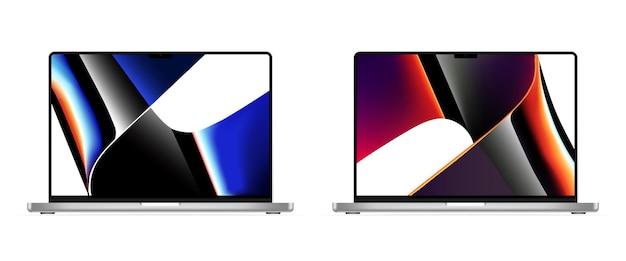 Macbook pro 2021. macbook pro m1 pro. macbook pro m1 max. vektor. stellen sie mock-up des realistischen laptops ein. saporischschja, ukraine - 19. oktober 2021