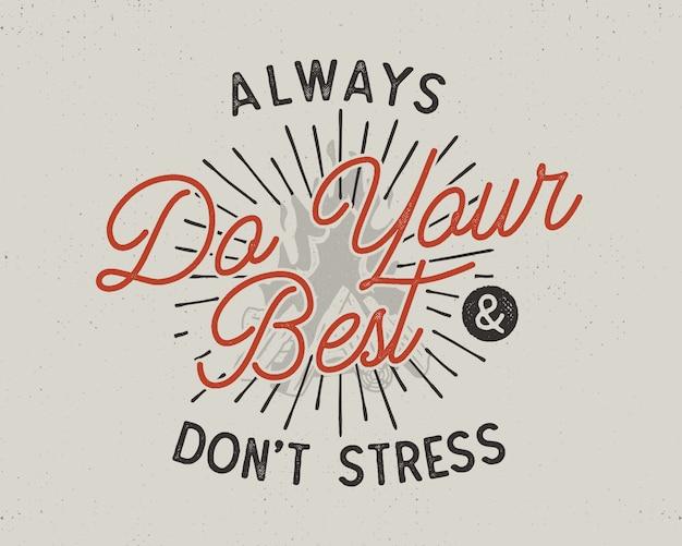 Mach dein bestes typografie-konzept. inspirierende poster mit lagerfeuer im retro-stil