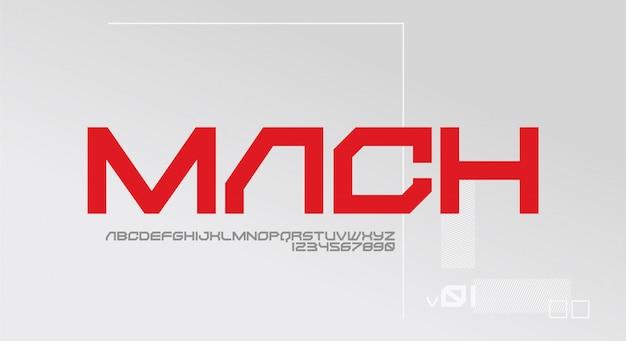 Mach, ein mutiges futuristisches schriftdesign. alphabet schriftart mit technologiethema. moderne minimalistische typografie