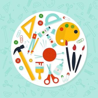 Mach es dir selbst gelbe kreativitätswerkzeuge
