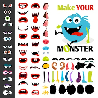 Mache ein monster-icons-set mit lebendigen augen, mündern, ohren und hörnern, flügeln und handkörperteilen