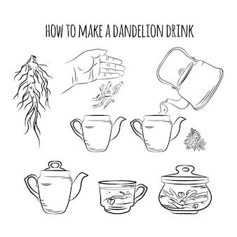 Machen sie ein getränk aus dandelion apotheke vorteile medizinische pflanze botanische natur gesundheit vektor illustration set für druckdesign und dekoration