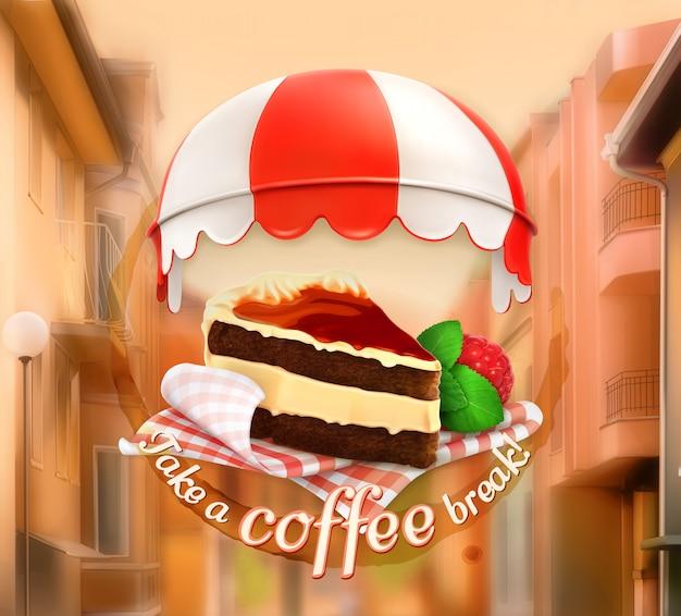 Machen sie eine kaffeepause, cafédekoration, plakatkarte, vektorillustration