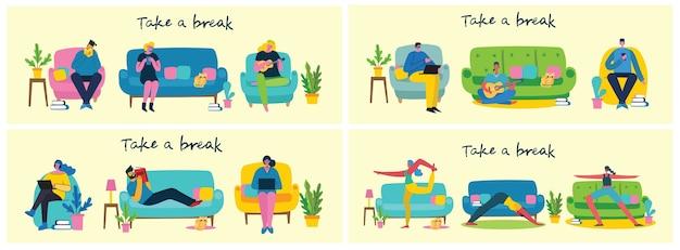 Machen sie eine pause collage illustration. die leute ruhen sich aus und lesen ein buch, spielen gitarre, benutzen tablet auf stuhl und sofa. flacher moderner stil.