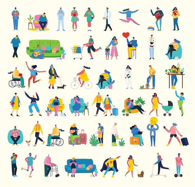 Machen sie eine pause collage illustration. die menschen ruhen sich aus und trinken kaffee, verwenden tabletten auf stuhl und sofa. flacher stil.