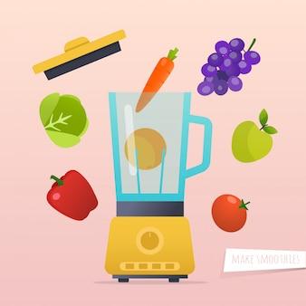 Machen sie einen smoothie. verschiedene zutaten für smoothie. modernes illustrationskonzept des flachen entwurfs.