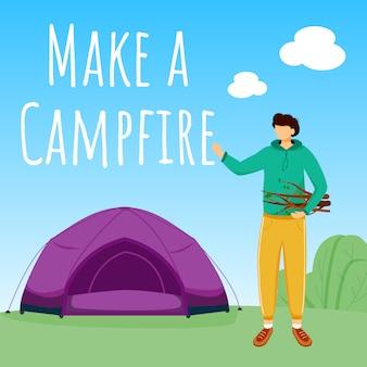 Machen sie einen social-media-beitrag am lagerfeuer. camping im wald. aktiver urlaub. design-vorlage für werbebanner. booster, inhaltslayout. werbeplakat, printwerbung mit flachen abbildungen