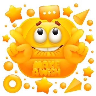 Machen sie einen wunsch geburtstag web-aufkleber. gelber emoji-charakter.