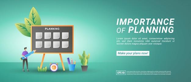 Machen sie pläne und verwalten sie ihre zeit online. implementieren sie disziplin, effizientes arbeiten, arbeiten oder schulplanung.