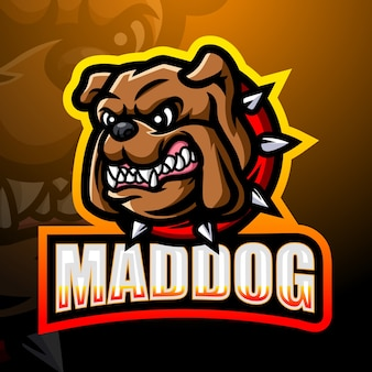 Mad dog maskottchen esport illustration