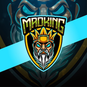 Mad king esport maskottchen logo design