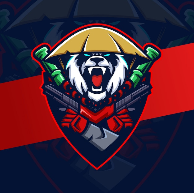 Mad panda maskottchen esport logo design
