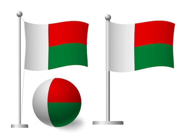 Madagaskar flagge auf stange und ballikone