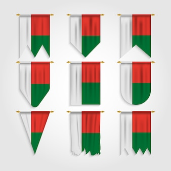 Madagaskar flagge in verschiedenen formen, flagge von madagaskar in verschiedenen formen
