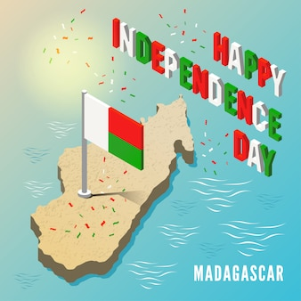 Madagaskar-karte mit flagge in der isometrischen art