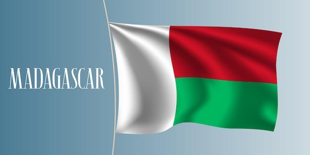 Madagaskar weht flagge. kultiges gestaltungselement als nationalflagge