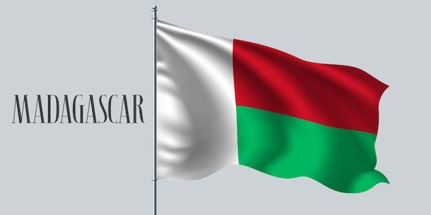 Madagaskar winkende flagge auf fahnenmastillustration