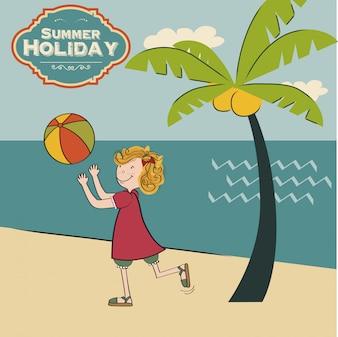 Mädchen spielt Ball am Strand