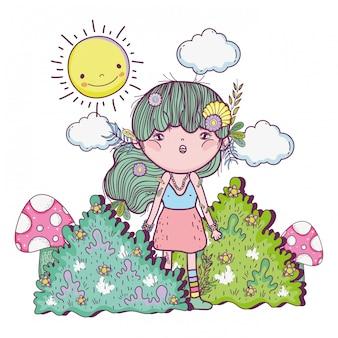 Mädchengeschöpf in den Büschen mit Sonne und Wolken