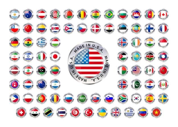 Made in foreign country, glänzende symbole auf weiß