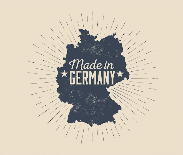 Made in germany abzeichen oder etikett oder tag design vorlage mit schwarzer silhouette von deutschland karte mit sunburst isoliert auf hellem hintergrund. vintage gestaltete illustration