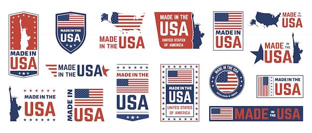 Made in usa label. amerikanisches flaggenemblem, patriot stolze nation beschriftet ikone und vereinigte staatenetikettstempelsymbolsatz gesetzt. us-produktaufkleber, nationale unabhängigkeitstag-abzeichen