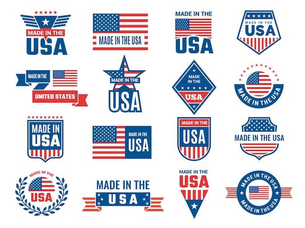 Made in usa logo. etikett für patriot american flag und spezielle symbole für usa briefmarken design.
