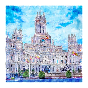Madrid spanien aquarell skizze hand gezeichnete illustration