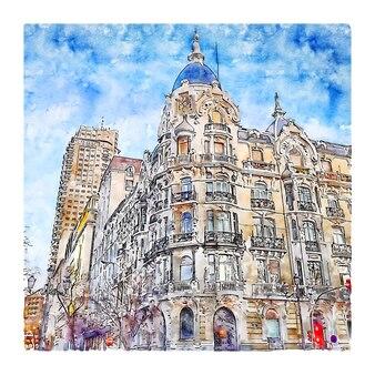 Madrid spanien aquarellskizze handgezeichnete illustration