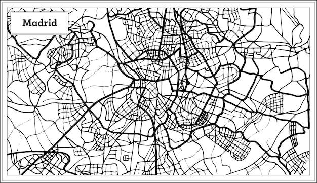 Madrid-spanien-karte in schwarzweiss-farbe. vektor-illustration. übersichtskarte.
