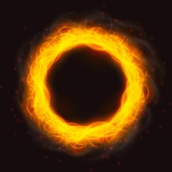 Mächtige feuerflammen eines rings