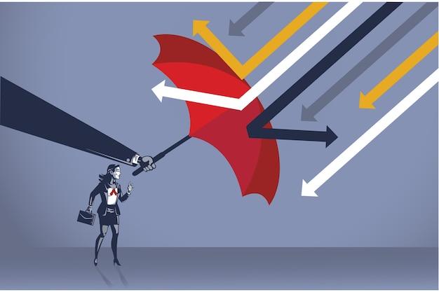 Mächtige hand schützen geschäftsfrau vor angreifendem pfeil mit konzeptioneller illustration des blauen regenschirmkragens