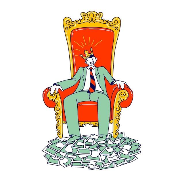 Mächtiger geschäftsmann charakter in krone auf dem kopf sitzt auf thron mit füßen stehen auf stapel von dollar-banknoten. macht, reichtum und führung, die besten finanzergebnisse. lineare vektorillustration