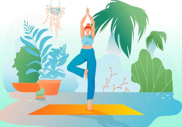 Mädchen am gewächshaus oder garten stehen im yoga asana.