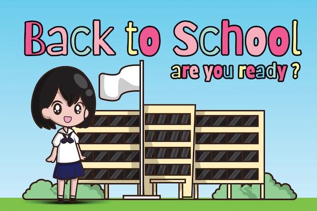 Mädchen an zurück in die schule. sind sie bereit?