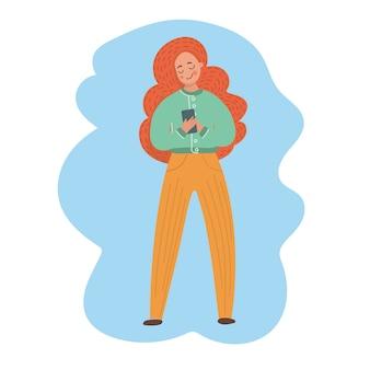 Mädchen-antwort-meldung abbildung set mädchen mit roten haaren wählt eine telefonnummer