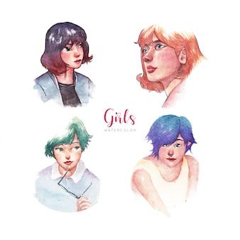 Mädchen-aquarell-illustration